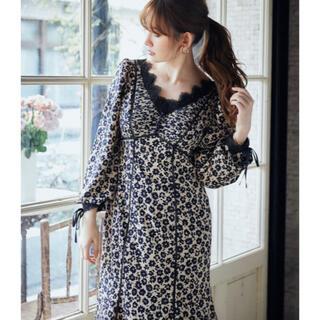 snidel - 小嶋陽菜 Floral Print Lace Trimmed Dress