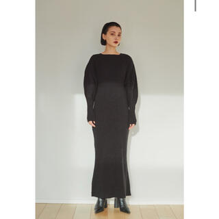 Ameri VINTAGE - 完売アイテム SHEER UNION KNIT DRESS (black)