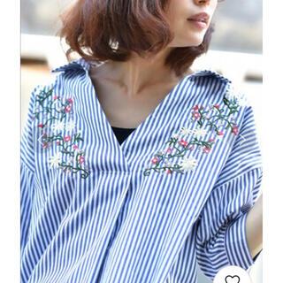 rps - rps アールピーエス 刺繍 スキッパー 半袖 ブラウス 花柄 ストライプ