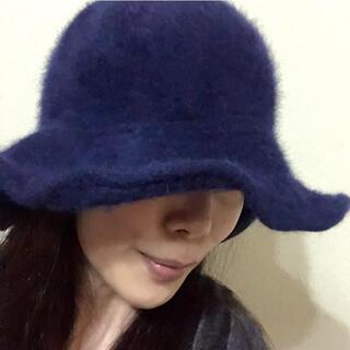 ザラ(ZARA)のZARA 帽子 アンゴラ  柔らか ネイビー 暖か(その他)