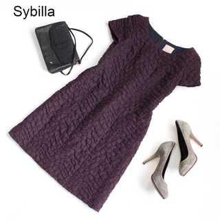 Sybilla - シビラ★美シルエット デザイン ワンピース 膝丈 紫 M 日本製