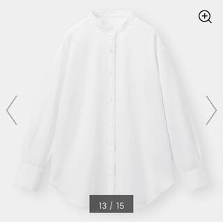 GU - ★今期新品 GU ジーユー 美シルエット バンドカラーロングシャツ ホワイト M