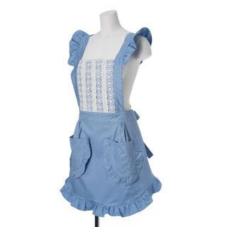 かわいい フリル レース 高級 エプロン ドレス (ブルー)