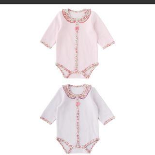 ニシキベビー(Nishiki Baby)のsweet girl リバティ風襟つきキルトロンパース ピンク 60(肌着/下着)