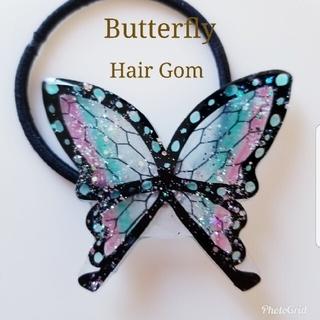 ヘアゴム 女の子 プレゼント 黒 卒園式 蝶々 蝶 レジン 髪飾り 髪留め 可愛