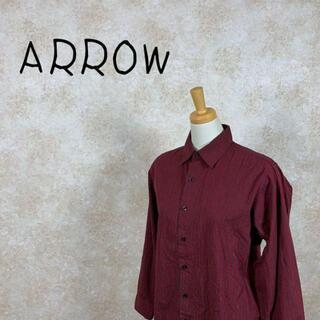 アロー(ARROW)のarrow アロー ストライプ シャツ サイズL レッド 赤 ブラック 黒(シャツ/ブラウス(長袖/七分))