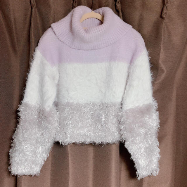rienda(リエンダ)のショート丈シャギーニット レディースのトップス(ニット/セーター)の商品写真