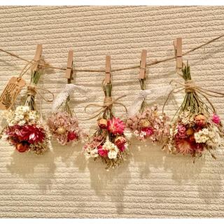 お花たっぷりドライフラワー スワッグ ガーランド❁96 薔薇 ピンク 白 花束