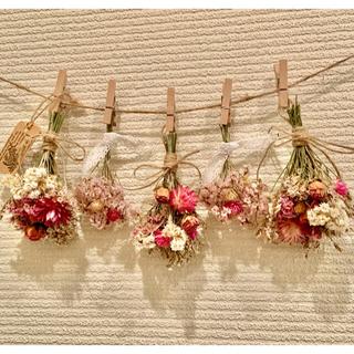 お花たっぷりドライフラワー スワッグ ガーランド❁96 薔薇 ピンク 白 花束(ドライフラワー)