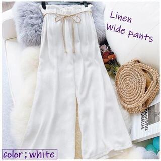【ホワイト】リネンのワイドパンツ