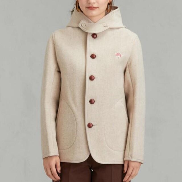 DANTON(ダントン)のDANTON ダントン ウールモッサ シングルフードジャケット ベージュ レディースのジャケット/アウター(ピーコート)の商品写真