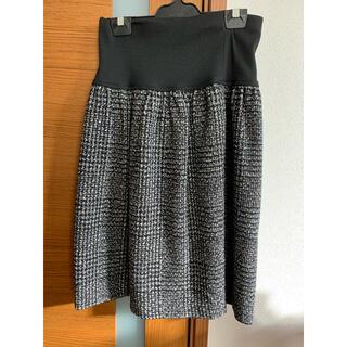 シマムラ(しまむら)の美品 ツイード膝丈スカート 黒×白 (ひざ丈スカート)