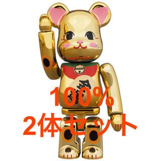メディコムトイ(MEDICOM TOY)のBE@RBRICK 招き猫 金運 金メッキ 弐 100% 2体セット(その他)