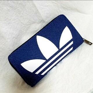 adidas - adidas デニム ラウンドファスナー 長財布 ウォレット bigロゴ