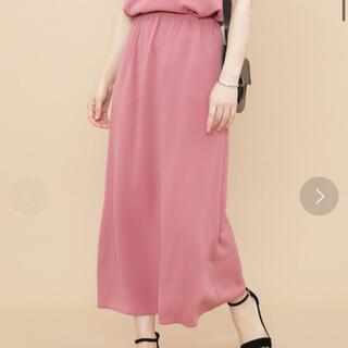 アダムエロぺ(Adam et Rope')のアダムエロペ  梨地ストレッチマキシスカート  ピンク  36サイズ(ロングスカート)