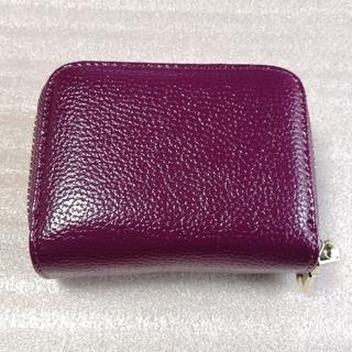 (M-440)Wジッパー カードケース ミニ財布 パープル