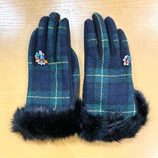 Chesty - chesty 手袋 ビジュー 手袋 チェック柄 手袋 マフラー