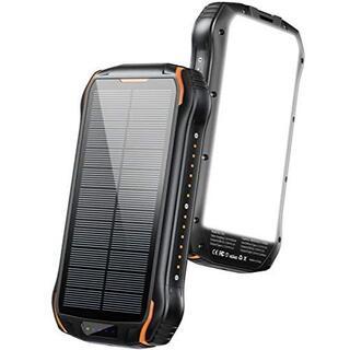 ソーラーチャージャー モバイルバッテリー 26800mAh大容量 急速充電(変圧器/アダプター)