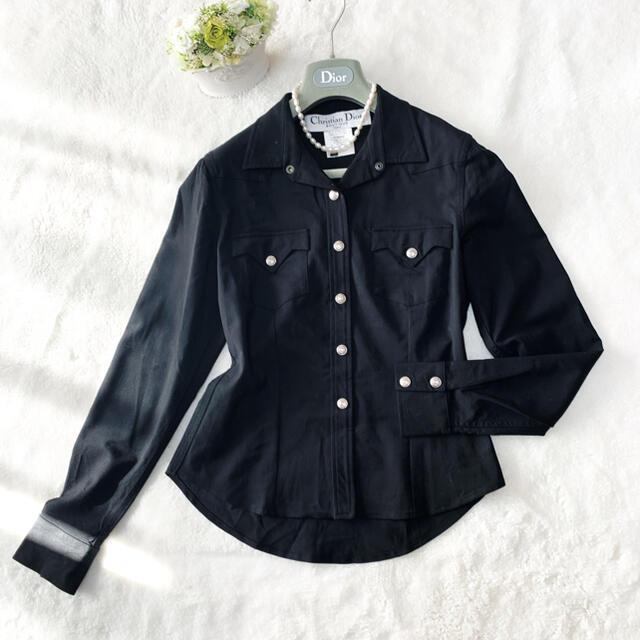 Christian Dior(クリスチャンディオール)の美品 クリスチャンディオール ブラック ジャケット ドレス シャツ  レディースのジャケット/アウター(テーラードジャケット)の商品写真