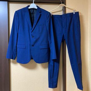 エイチアンドエム(H&M)の美品H&Mメンズスーツ セットアップ ダークブルースリムフィット 送料無料(セットアップ)