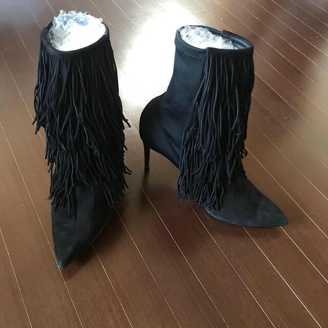 DEUXIEME CLASSE(ドゥーズィエムクラス)のアクアズーラ 裏張り済み フリンジブーツ レディースの靴/シューズ(ブーツ)の商品写真