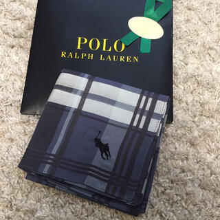 POLO RALPH LAUREN - 新品★ラルフローレン ハンカチ ネイビーグレーチェック模様
