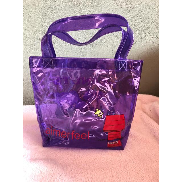 SNOOPY(スヌーピー)のスヌーピ プール ビニール トート 手さげ バック スケルトン クリア パープル レディースのバッグ(トートバッグ)の商品写真