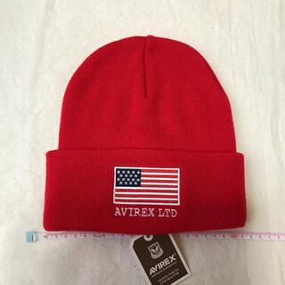 アヴィレックス(AVIREX)の新品 アヴィレックス ニット帽 ニットキャップ レッド 3(ニット帽/ビーニー)