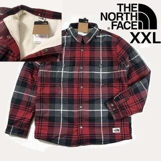 ザノースフェイス(THE NORTH FACE)のノースフェイス フリースジャケット シャツ(XXL)赤 チェック柄180915(その他)