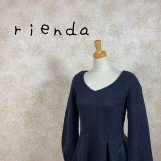 rienda - rienda リエンダ 膝丈ワンピース 未使用 サイズS ネイビー 紺色