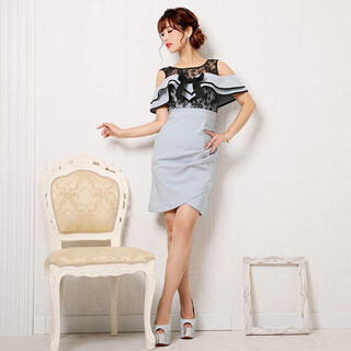 デイジーストア(dazzy store)のフリルリボン透けレースバイカラータイトミニドレス(ナイトドレス)