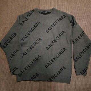 Balenciaga - バレンシアガ ブラックxグレー ロゴ ニット
