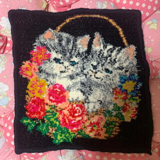 フランシュリッペ(franche lippee)の美品フランシュリッペ猫ハンカチねこネコ花柄ハンドタオルFEILERフェイラー(ハンカチ)