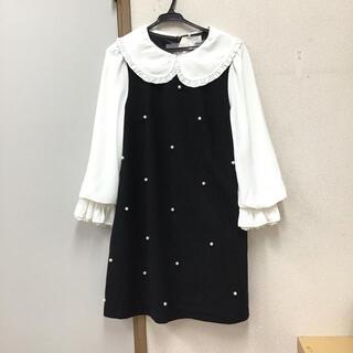 ブランド❤️定価10780円 フリル襟付きパールワンピース 黒