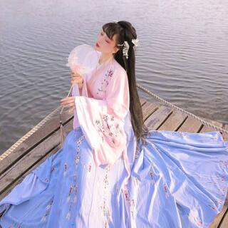コスプレ 漢服 中華風 中国伝統服 新年 撮影用 着物 女子 普段着 xia3(衣装一式)