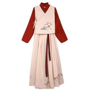 コスプレ 漢服 中華風 中国伝統服 新年 撮影用 着物 女子 普段着 xia5(衣装一式)