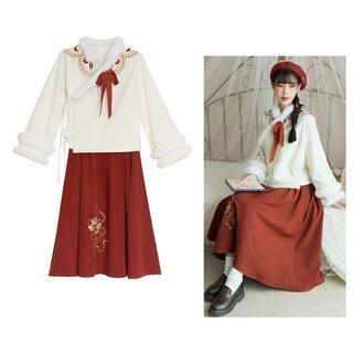 コスプレ 漢服 中華風 中国伝統服 新年 撮影用 着物 女子 普段着 xia6(衣装一式)