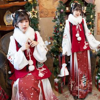コスプレ 漢服 中華風 中国伝統服 新年 撮影用 着物 女子 普段着 xia7(衣装一式)