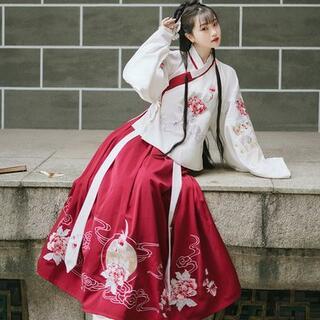 コスプレ 漢服 中華風 中国伝統服 新年 撮影用 着物 女子 普段着 xia9(衣装一式)