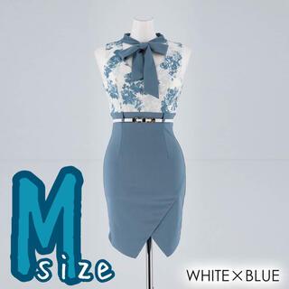 デイジーストア(dazzy store)の【未開封】ボウタイリボンベルト付きタイトミニドレス ブルー(ナイトドレス)