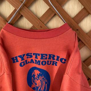 ヒステリックグラマー(HYSTERIC GLAMOUR)の【ヒステリックグラマー】美品 古着 スウェット ロゴトレーナー 赤 オレンジ(トレーナー/スウェット)