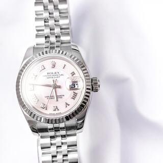 ROLEX - 【保証書付】ロレックス ピンクシェル ミリヤードローマン レディース 腕時計