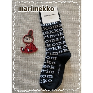 marimekko - ○新品○  マリメッコ  ソックス  ブラック×ロゴ柄  おまけ付き