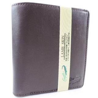 クロコダイル(Crocodile)のクロコダイル      ラムスキン    茶色    メンズ  二(折り財布)