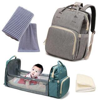 ○マザーズバッグ リュック ベビー ベッド マット タオル付き 折りたたみ式(マザーズバッグ)