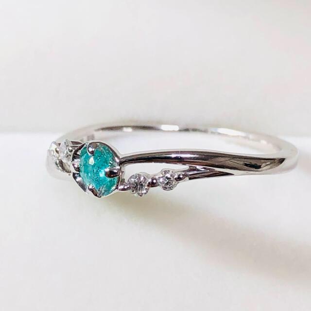 k18wg 天然パライバトルマリン ダイヤモンドリング レディースのアクセサリー(リング(指輪))の商品写真