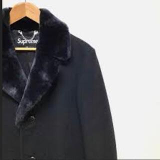 Supreme - シュプリーム fur collar tweed coat チェスターコート