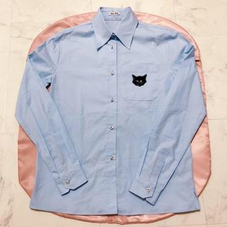 miumiu - ミュウミュウmiumiuネコ猫ねこシャツトップスブラウス水色
