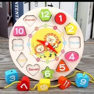 モンテッソーリ 木のおもちゃ 知育玩具 ひも通し 時計 型はめ 匿名発送 新品
