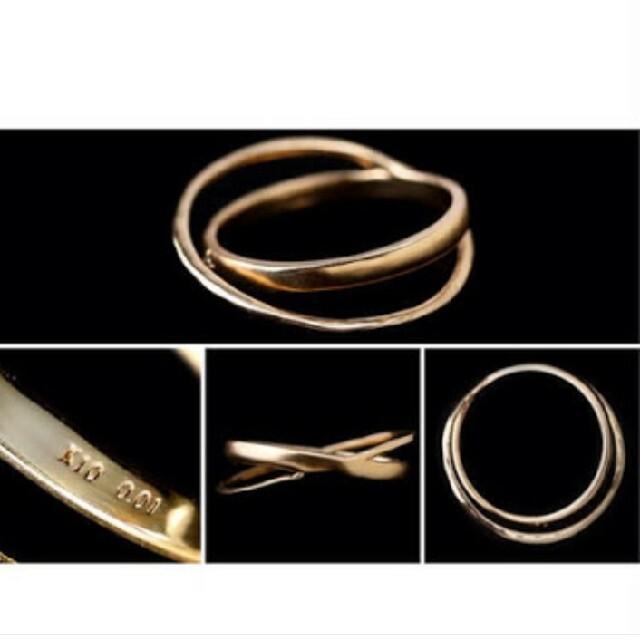 agete(アガット)の値下げ 新品 シエナロゼ パンシェ クロスライン リング K10YG 11号 レディースのアクセサリー(リング(指輪))の商品写真